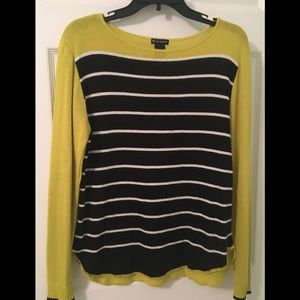 Lime Green and Black Striped Sweater